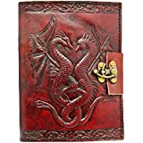 Handcrafted Double Dragon Embossed Brown Leather Bound Journal with Lock