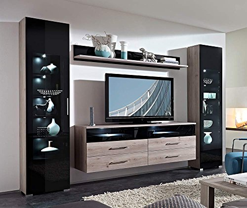 Wohnwand in Silbereiche-NB mit Abs. in Schwarzglas mit 2 Vitrinen, Wandboard und TV-Element, Gesamtmaße: B/H/T ca. 275/199/45 cm