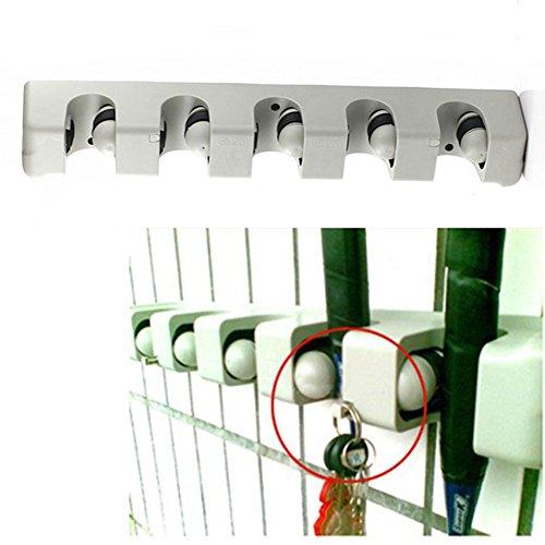 MOP und Besen Halter Aufhänger Mehrzweck Wand montiert Organizer Storage Haken, ideal Besen Aufhänger für Küche Garten und Garage für Rechen, Duster, Sweeper 44 * 7 * 6cm weiß