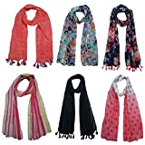 FusFus Women's Printed Trendy Stoles, Free Size(Multicolour, F0152) - Pack of 6