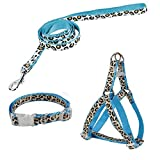 Youthlikewater Pet Products Dog Collar Lead Set Leopard Adjustable Dog Leash Puppy Harness Durable Dog Accessories Cat Collar,Blue,S,China