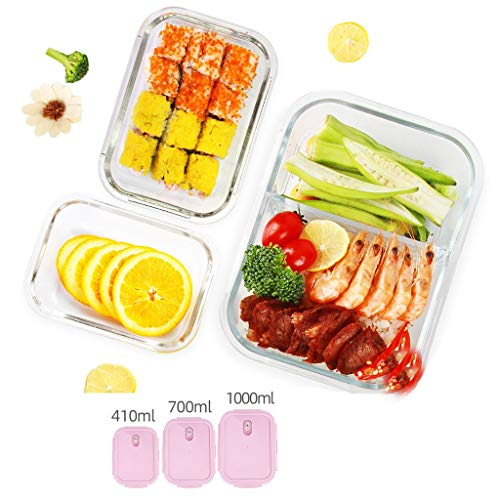 Brotdose Partition Bento Lunch Box 3-teiliges Set Glasbehälter Trennung Isoliert Auslaufsicheres Fach Tragbare Mikrowelle Teen School Office MUMUJIN (Color : Pink) (Office Glas Lunch-box)