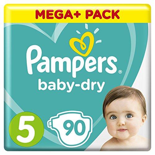 Pampers Baby-Dry Windeln Größe5 (11-16kg), Luftkanäle für atmungsaktive Trockenheit die ganze Nacht, Mega Plus Pack, 1er Pack (1 x 90 Stück)