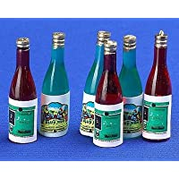 12th Scale Dolls House Accessory - Wine Bottles Set Of 6