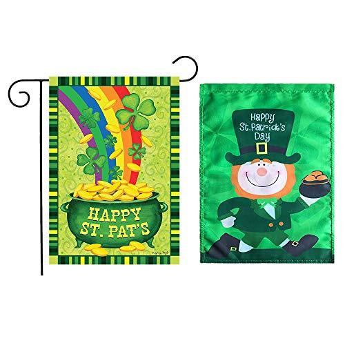 Fellibay St. Patricks Day Flagge Irische Gartenflagge Dekoration irisch grün 2 Stück, B, 30 * 45cm