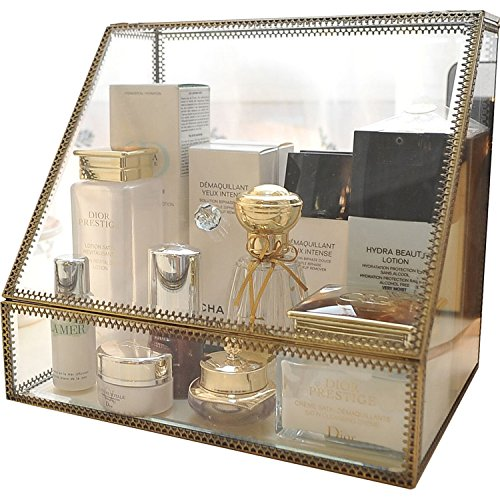 Vintage-Make-up-Organizer, klar, verspiegelt, Messing-Kasten, geräumige Kosmetik-Box für Make-up, Schmuck, Pinsel, Parfüm, Hautpflege, mit staubfreien Glasvitrinen, Make-up-Aufbewahrung -