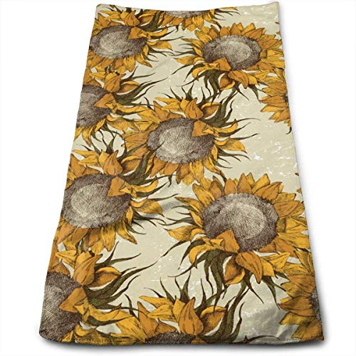 Osmykqe Kitchen Hand Towel Vintage Sunflowers Vector Durable Antibacterial and Highly Absorbent Reusable Polyester Towel