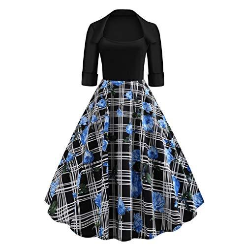 Luckycat Damen Quadratischer Kragen Plaid Blumendruck Drapierte Feiertags Partei Weinlese Kleid Abendkleider Cocktailkleid Partykleider Blusenkleid Mode 2018