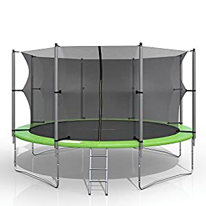 gympatec XXL Trampolin Gartentrampolin Komplettset mit Netz innenliegend Leiter Erdanker Spanngurte (366 cm)