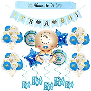 Crazy-M Babyparty Deko für Junge/its a Boy babyshower deko/Baby Dusche Dekoration Ballons/ its a Boy Banner+5 Heliumballon Baby Folienballon+18 Latexballons, Mum to be Schärpe, 6 Hängende Wirbel