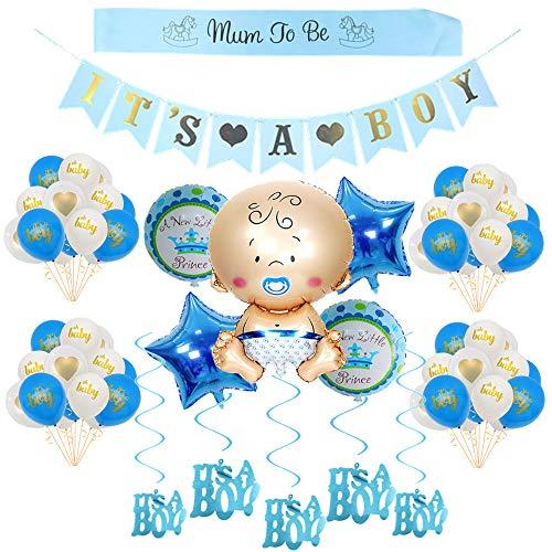 Babyparty Deko für Junge/its a Boy babyshower deko/Baby Dusche Dekoration Ballons/its a Boy Banner+5 Heliumballon Baby Folienballon+18 Latexballons, Mum to be Schärpe, 6 Hängende Wirbel (Banner Dein Ist Geburtstag Es)