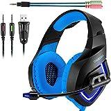 Auriculares Gaming con Micrófono, USB y LED, Cables Trenzados – ONIKUMA, K1-B| Para PC, Móviles, PS4 y Xbox One S (Adaptador Incluido) | Gaming Headset, Color Azul