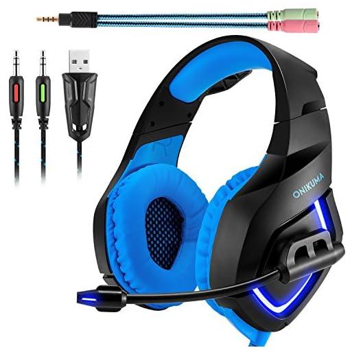 Cuffie Gaming PS4 ONIKUMA Headset da Gioco con Microfono Stereo Surround  LED per PC Cellulare Xbox One S USB Jack di 3.5mm cbc7618d8642