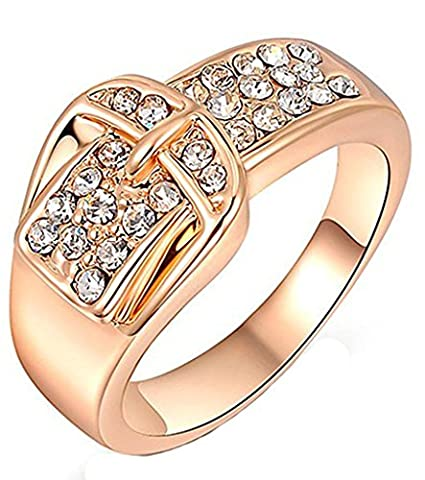18k Gold Plated Rings, Women's Wedding Bands Circle Round Leather Buckle Rose Gold Size 8 Epinki