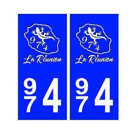 974 Blason La Réunion autocollant plaque - droits