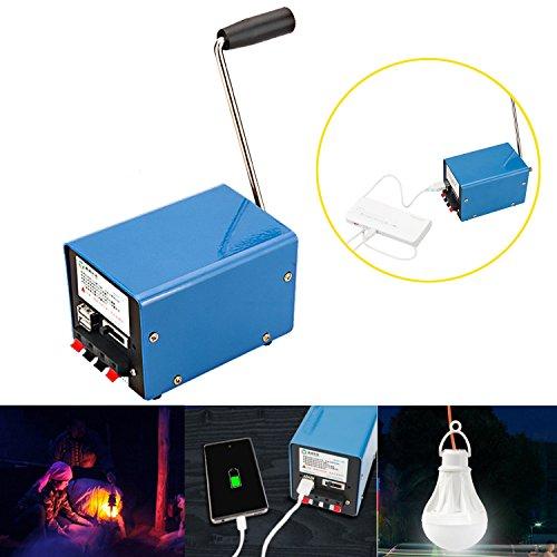 Manuelle Kurbel Generator,CAMTOA 20W Generator Outdoor Multifunktions Tragbar Hand Generator, für Emergency Survival, für Handy, USB-Nachtlicht, USB-Ventilator, Energie