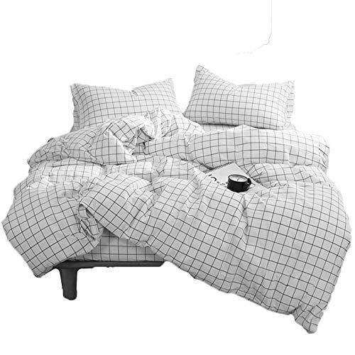 3 TLG. Bettwäsche Set 200 x 200cm Kariert Schwarz Weiß Karierter Bettbezug mit Reißverschluss und 2 Kissenbezüge 80×80 cm, Microfaser -