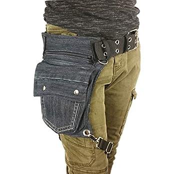 Hüfttasche mit Beinriem hergestellt aus eine schwarze recyclede Jeans, bei Hipsypixie