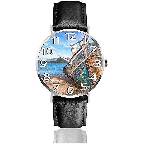 Blue Boat by The Sea Reloj de Cuero Relojes de Pulsera de Moda Unisex Resistente a rayones...