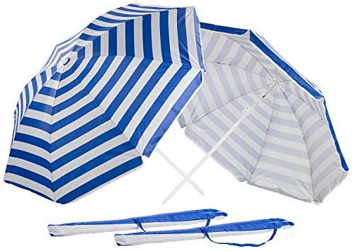 Royal Gardineer Sonnenschirm Balkon: 2er-Set 2-teilige Sonnenschirme mit Sonnenschutz UV30+, Tasche, Ø160cm (Camping-Sonnenschirm)