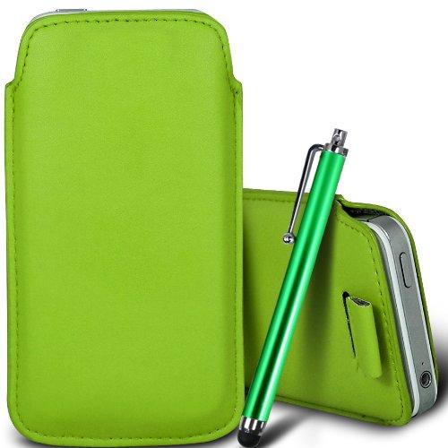 Vert/Green - Nokia Lumia 620 Housse deuxième peau et étui de protection en cuir PU de qualité supérieure à cordon et écouteurs intra-auriculaires de 3,5 mm assortis par Gadget Giant® Vert/Green & Stylus Pen