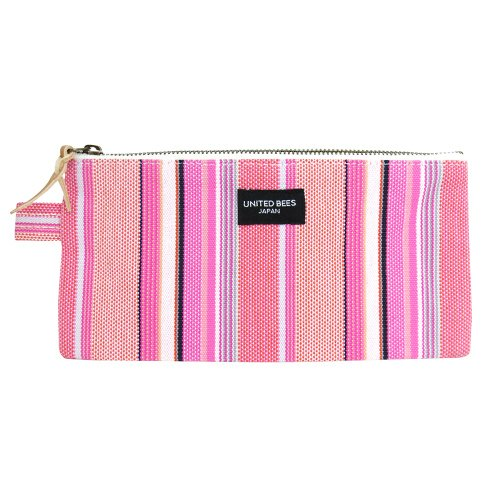 kurashiki-canvas-flat-pencil-case-stripe-pink-ubs-r-06-japan-import