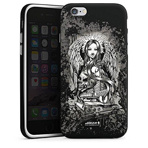 Apple iPhone X Silikon Hülle Case Schutzhülle Joker - Lost Angel Engel Totenkopf Silikon Case schwarz / weiß