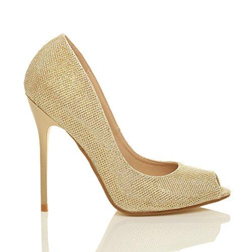 Damen Hohen Absatz Arbeit Party Grund Peep Toe Schuhe Pumps Sandalen Größe Gold Glitzer