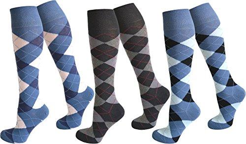 3 Paar Kniestrümpfe für Teenager und Damen im Karo Design Farbe Farbset 2 Größe (Paar Kostüme Zwei)