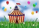 Yongfoto 3x 2m Cirque Fond coloré Ballons blancs Fleurs Dessin animé toiles de fond pour la photographie Vert herbe Printemps en vinyle Photo Fond garçons filles Joyeux anniversaire Studio Props