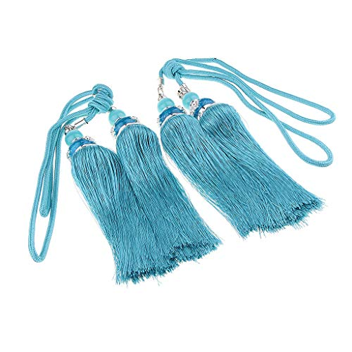 Raffhalter mit Kordel Troddel Gardinen Vorhänge 9 Farben Schöne Quasten Raffhalter Kordel mit Quaste - Pfauenblau ()