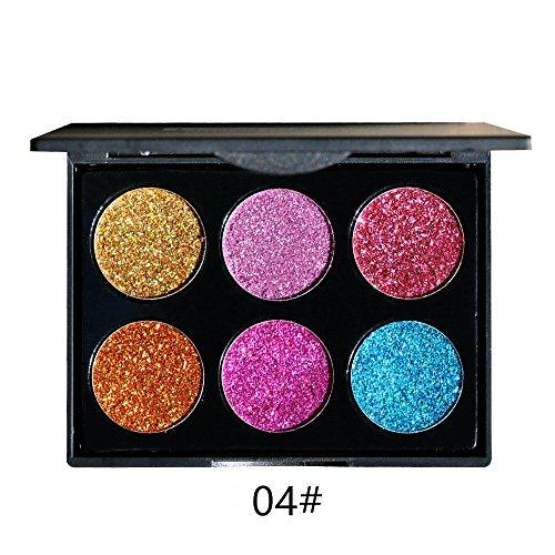 Lidschatten Palette, Huihong 6 Farben Schimmern Glitter Lidschatten Pulver Palette Natural Matte Professionelle Kosmetik (A)