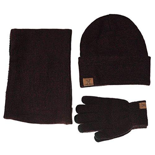 Wintermütze Herren Mütze Schal Handschuh-Sets, Touchscreen Handschuhe Beanie Warme Mütze Strickmütze Winterschal Herren mit Fleecefutter (Rot)