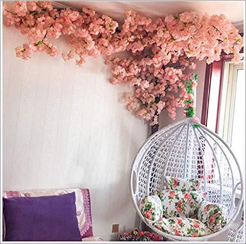 XNNSH Künstliche Gefälschte Blumen Simulation Verschlüsselung Kirschblüten Gefälschte Baum Rattan für Hochzeit Wohnzimmer Innendekoration (10FT / 3 Mt)