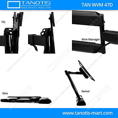 "Tanotis Imported 6 Way Swivel Tilt TV Wall mount for LCD/LED TV's upto 32"" to 47"" inch for flat wall or Corner Mounting with VESA upto 400 MM TAN WVM 47D + Free TANOTIS Remote Stand TAN ACC RMS"