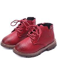Koly Botines impermeables Infantil Botines Niñas Zapatos para Moda Sneaker Grueso Nieve Casual Zapatos Shoes Bebé niño ejército del estilo Martin botas zapatos calientes del invierno (Rojo, 25)