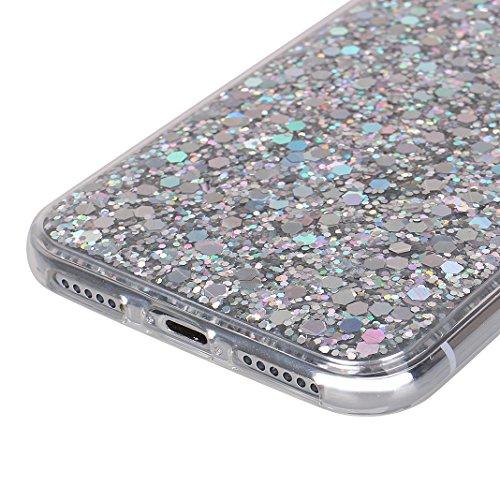 iPhone X Coque, iPhone 10 Bling Sequin Case, MeiC Power Glitter Luxe Shiny Souple TPU Étui Transparent Étui en Acrylique Hybrid Crystal Clear Flex Soft Skin Ultra Slim TPU Couverture Case Coque Housse Argent
