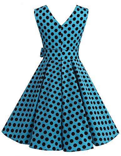 Dresstells 1950er Vintage Retro Rockabilly Kleid Ärmellos Festliches Partykleid Cocktailkleider Navy White Dot