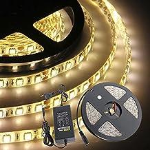 CroLED Striscia LED Bobina 5M 5050SMD 300LED DC 12V Luce Bianco Caldo Impermeabile Adesivo con 5A Alimentatore Standard Europeo