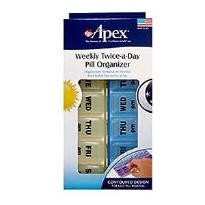 Apex Pilulier hebdomadaire pour prise de médicaments 2 fois/jour - Apex Healthcare