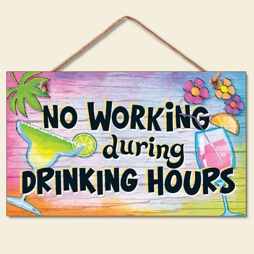 prz0vprz0v No Working During Drinking Hours Tropical Mixed Drink Sign Coastal Plaque 9 X 6 Home Decor Wall Decor Door Sign (Tropical Home Decor)
