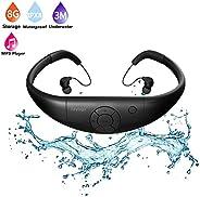 Tayogo Waterproof MP3 Player, IPX8 Swimming Waterproof Headphones, 8GB Memory Can Download 2000 Songs, Work fo