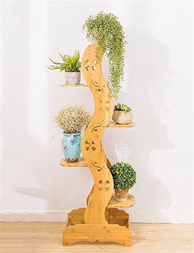 FAFZ Antico creativo intagliato Pavimento di legno Flower Pot Scaffale, Pianta stand, Fiore rastrelliera per soggiorno, balcone, Interno