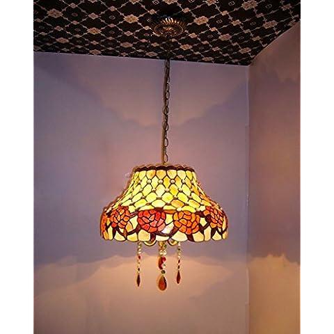 Americano da 16 pollici corona di rose naturale di Shell Chandelier hotel lampadario di cristallo di Tiffany Ristorante Chandelier