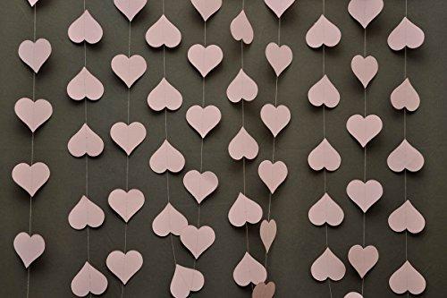 Hochzeitsdekorationen, Hochzeitsgirlande, Herzgirlande, Papiergirlande, für Babyparty, Brautparty, Pastellrosa (Aqua-papier-girlande)