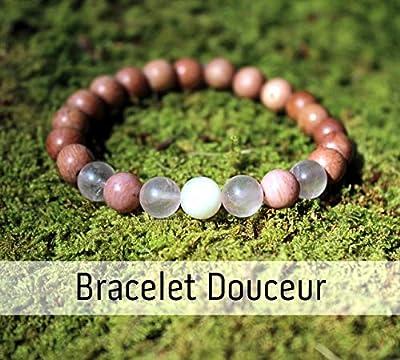 Bracelet douceur pour femme, perles de bois et pierres naturelles, pierre de lune, quartz rose et rhodonite, cadeau anniversaire Noël mariage