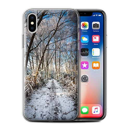 Stuff4 Gel TPU Hülle / Case für Apple iPhone X/10 / Gefrorene Bäume Muster / Winter Saison Kollektion Gefrorenen Weg