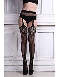 Alcoa Prime Sexy Ladies Lace Top Thigh-Highs Stockings With Garter Belt Pantyhose Black