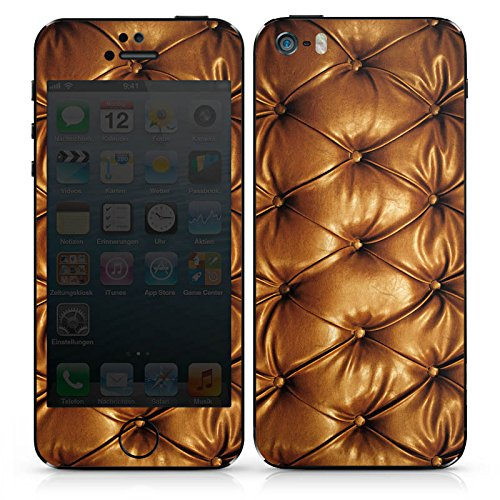 Apple iPhone 5 Case Skin Sticker aus Vinyl-Folie Aufkleber Leder Muster Sofa Leder Couch Look DesignSkins® glänzend