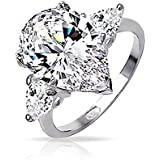 Bling Jewelry Sterling Silver Classic 3 Stone Pear Shape CZ Engagement Ring
